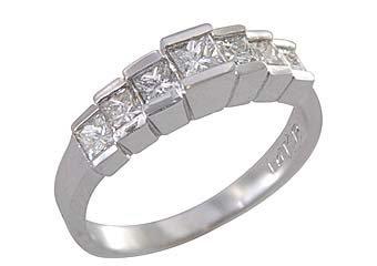 1 CARAT WOMENS PRINCESS SQUARE CUT DIAMOND RING WEDDING BAND WHITE GOLD