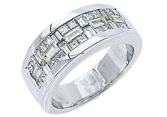 1.59CT WOMENS PRINCESS SQUARE BAGUETTE CUT DIAMOND RING WEDDING BAND WHITE GOLD