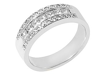 1 CARAT WOMENS PRINCESS SQUARE ROUND CUT DIAMOND RING WEDDING BAND WHITE GOLD