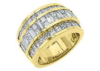 3 CARAT WOMENS PRINCESS BAGUETTE INVISIBLE DIAMOND RING WEDDING BAND YELLOW GOLD