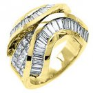 4.5CT WOMENS PRINCESS BAGUETTE INVISIBLE DIAMOND RING WEDDING BAND YELLOW GOLD
