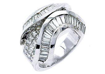 4.5CT WOMENS PRINCESS BAGUETTE INVISIBLE DIAMOND RING WEDDING BAND WHITE GOLD