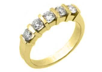 1/2 CARAT WOMENS BRILLIANT ROUND 5-STONE DIAMOND RING WEDDING BAND YELLOW GOLD