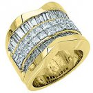 5 CARAT WOMENS PRINCESS BAGUETTE INVISIBLE DIAMOND RING WEDDING BAND YELLOW GOLD