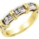 WOMENS .55CT BRILLIANT ROUND DIAMOND RING WEDDING BAND TWO TONE YELLOW GOLD
