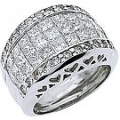 3 CARAT WOMENS PRINCESS CUT INVISIBLE DIAMOND RING WEDDING BAND WHITE GOLD