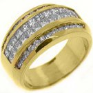 1.6CT WOMENS PRINCESS SQUARE CUT INVISIBLE DIAMOND RING WEDDING BAND YELLOW GOLD