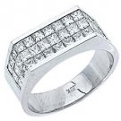2CT WOMENS PRINCESS SQUARE CUT INVISIBLE DIAMOND RING WEDDING BAND WHITE GOLD