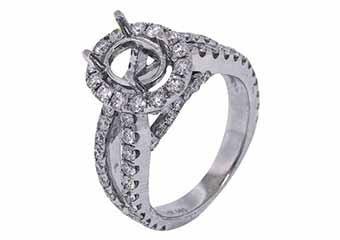 2.05 CARAT WOMENS DIAMOND HALO ENGAGEMENT RING SEMI-MOUNT OVAL SHAPE WHITE GOLD