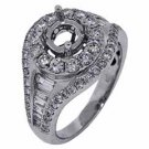 1.88 CARAT WOMENS DIAMOND HALO ENGAGEMENT RING SEMI-MOUNT ROUND BAGUETTE CUT