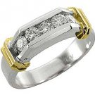 MENS 3/4 CARAT BRILLIANT ROUND CUT DIAMOND RING WEDDING BAND 5-STONE WHITE GOLD