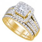 WOMENS DIAMOND ENGAGEMENT HALO RING WEDDING BAND BRIDAL SET 1.5 CARAT SQUARE CUT