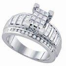 WOMENS DIAMOND ENGAGEMENT RING INVISIBLE PRINCESS CUT .90 CARAT 14K WHITE GOLD