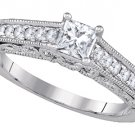 WOMENS DIAMOND ENGAGEMENT RING PRINCESS SHAPE CUT .68 CARAT 14K WHITE GOLD