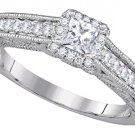 WOMENS DIAMOND ENGAGEMENT HALO RING PRINCESS SHAPE CUT .69 CARAT 14K WHITE GOLD