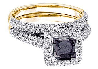 WOMENS BLACK DIAMOND ENGAGEMENT HALO RING WEDDING BAND BRIDAL SET SQUARE CUT