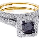 WOMENS BLACK DIAMOND ENGAGEMENT HALO RING WEDDING BAND BRIDAL SET SQUARE CUT