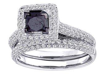 WOMENS BLACK DIAMOND ENGAGEMENT HALO RING WEDDING BAND BRIDAL SET PRINCESS CUT