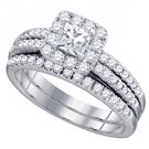 WOMENS DIAMOND ENGAGEMENT HALO RING WEDDING BAND BRIDAL SET 1.25 CARAT PRINCESS