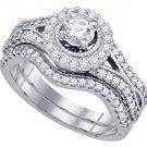 WOMENS DIAMOND ENGAGEMENT HALO RING WEDDING BAND BRIDAL SET 1 CARAT ROUND CUT