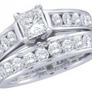 WOMENS DIAMOND ENGAGEMENT RING WEDDING BAND BRIDAL SET 1 CARAT PRINCESS CUT