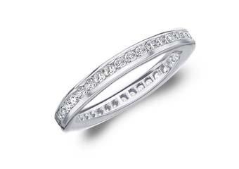 DIAMOND ETERNITY BAND WEDDING RING ROUND CHANNEL SET 14K WHITE GOLD .50 CARAT