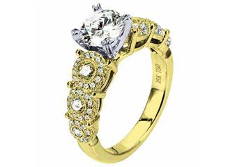 WOMENS DIAMOND ENGAGEMENT RING ROUND CUT 1.77 CARAT 18K YELLOW GOLD