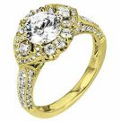 WOMENS DIAMOND ENGAGEMENT HALO RING ROUND CUT 1.87 CARAT 18K YELLOW GOLD
