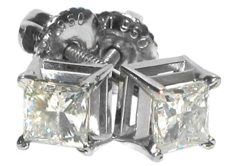 LADIES PRINCESS SQUARE CUT DIAMOND STUD EARRINGS 1 CARAT WHITE GOLD