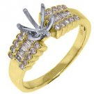 .48 CARAT WOMENS DIAMOND ENGAGEMENT RING SEMI-MOUNT ROUND BAGUETTE YELLOW GOLD