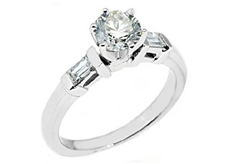 1 CARAT WOMENS DIAMOND ENGAGEMENT WEDDING RING ROUND BAGUETTE CUT WHITE GOLD