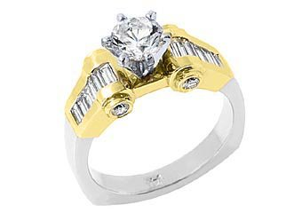 WOMENS 1.83CT ROUND BAGUETTE SHAPE DIAMOND ENGAGEMENT RING TWO TONE YELLOW GOLD