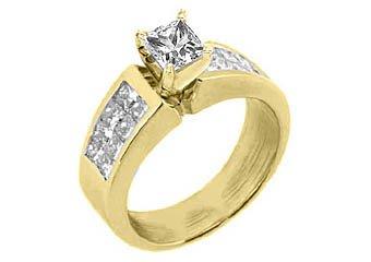 1.8CT WOMENS DIAMOND ENGAGEMENT WEDDING RING PRINCESS CUT INVISIBLE YELLOW GOLD