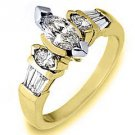 1 CARAT WOMENS DIAMOND ENGAGEMENT WEDDING RING MARQUISE BAGUETTE CUT YELLOW GOLD