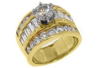 3.6 CARAT WOMENS DIAMOND ENGAGEMENT WEDDING RING ROUND BAGUETTE CUT YELLOW GOLD