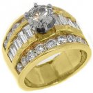 3.6 CARAT WOMENS DIAMOND ENGAGEMENT WEDDING RING ROUND BAGUETTE CUT YELLOW GOLD