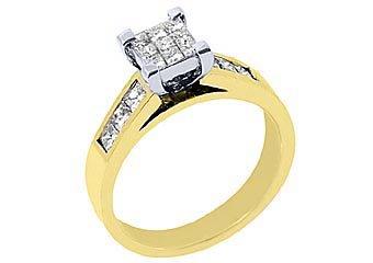 1.15CT WOMENS DIAMOND ENGAGEMENT WEDDING RING PRINCESS CUT INVISIBLE YELLOW GOLD