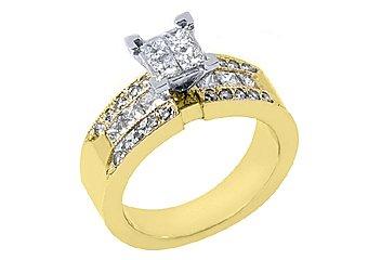 1.29CT WOMENS DIAMOND ENGAGEMENT WEDDING RING PRINCESS CUT INVISIBLE YELLOW GOLD
