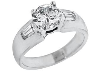 1.67 CARAT WOMENS DIAMOND ENGAGEMENT WEDDING RING ROUND BAGUETTE CUT WHITE GOLD