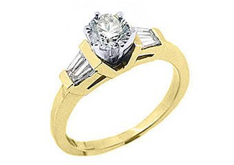1 CARAT WOMENS DIAMOND ENGAGEMENT WEDDING RING ROUND BAGUETTE CUT YELLOW GOLD