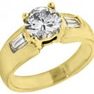 1.67 CARAT WOMENS DIAMOND ENGAGEMENT WEDDING RING ROUND BAGUETTE CUT YELLOW GOLD