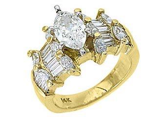 3 CARAT WOMENS DIAMOND ENGAGEMENT WEDDING RING MARQUISE BAGUETTE CUT YELLOW GOLD