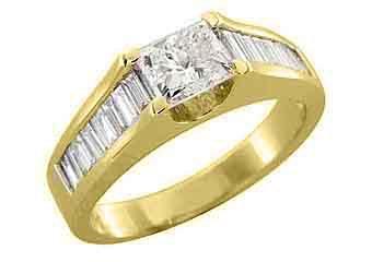 1.71CT WOMENS DIAMOND ENGAGEMENT WEDDING RING PRINCESS BAGUETTE CUT YELLOW GOLD