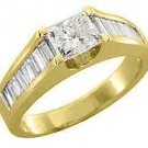 1.71CT WOMENS DIAMOND ENGAGEMENT WEDDING RING PRINCESS BAGUETTE CUT YELLOW GOLD