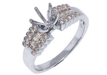 .48 CARAT WOMENS DIAMOND ENGAGEMENT RING SEMI-MOUNT ROUND BAGUETTE WHITE GOLD