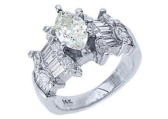3 CARAT WOMENS DIAMOND ENGAGEMENT WEDDING RING MARQUISE BAGUETTE CUT WHITE GOLD