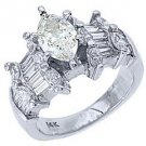 3 CARAT WOMENS DIAMOND ENGAGEMENT WEDDING RING MARQUISE BAGUETTE CUT WHITE GOLD