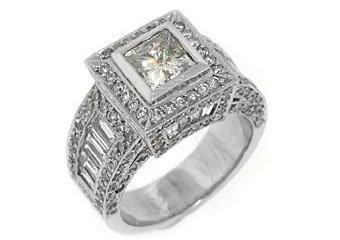 4 CARAT WOMENS DIAMOND ENGAGEMENT WEDDING HALO RING PRINCESS CUT WHITE GOLD