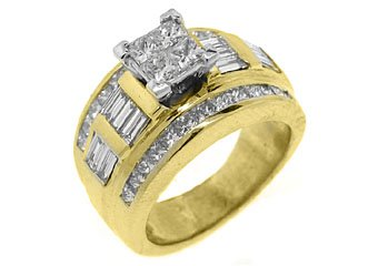 2CT WOMENS DIAMOND ENGAGEMENT WEDDING RING PRINCESS CUT INVISIBLE YELLOW GOLD