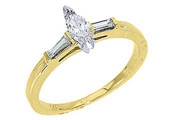 1/2CT WOMENS DIAMOND ENGAGEMENT WEDDING RING MARQUISE BAGUETTE CUT YELLOW GOLD
